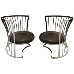 Pair of Satin Nickel Lounge Chairs by Russell Woodard