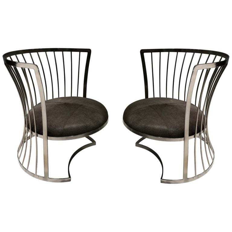 Fantastic Pair Of Satin Nickel Lounge Chairs By Russell Woodard Squirreltailoven Fun Painted Chair Ideas Images Squirreltailovenorg