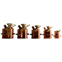 Monmouthshire County Council Petrol Measuring Cans Set of 5 Copper & Brass, 1931