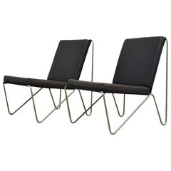Pair of Minimalist Black Bachelor Chairs by Verner Panton for Fritz Hansen 1960s