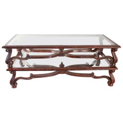 Pair of Coffee Tables in Carved Wood, Antique Red Brown Patina