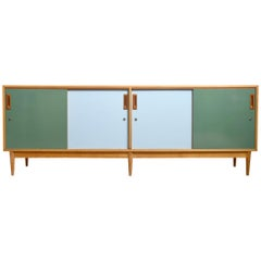 Belgium 1950s Sideboard in Quadrat Two-Tone Doors Blue and Green, Vanden Berghe