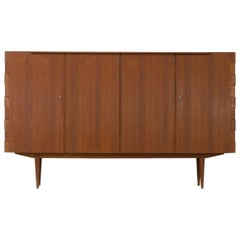 1960s Very Rare Teak High Sideboard with Hinge-Joints