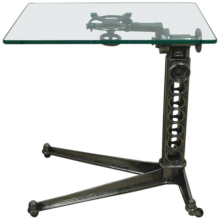 Vintage Industrial Adjustable High to Low Work Table, English, 1920s