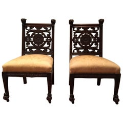 Pair of Late 19th Century Carved Side Chairs, Aesthetic Movement, circa 1890