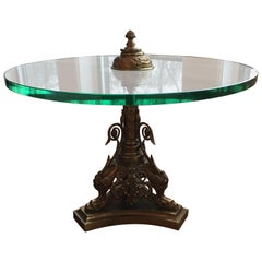 Maison Charles Glass and Bronze Round Table, One of a Kind, 1960s
