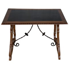 19th Spanish Farm Table with Iron Stretchers and Hand Carved Top and Ebonized