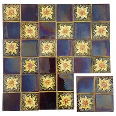 Panel of 9 Authentic Glazed Art Deco Relief Tiles, S.A. Pavillions, 1930s