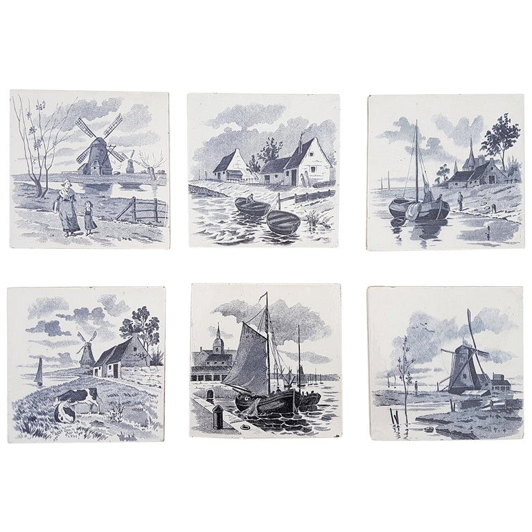 Set of 6 of Total 120 Dutch Blue Glazed Ceramic Tiles by Le Glaive, 1930 For Sale