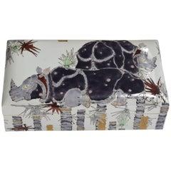 Large Japanese Contemporary Porcelain Decorative Box by Kutani Master Artist