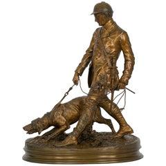 """""""Valet de Limier"""" French Antique Bronze Sculpture by Pierre Jules Mene"""