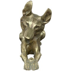 Art Deco Sculpture of Bronze German Shepherd Dog