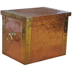 Arts & Crafts Beaten Copper and Brass Lidded Kindling Box