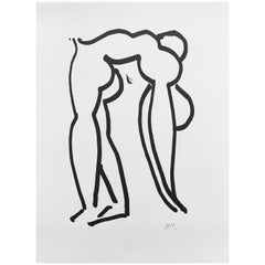 After Henri Matisse Lithograph, Black and White Acrobat