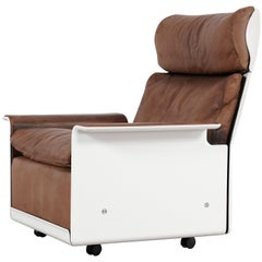 Dieter Rams Lounge Chair RZ 62 1962 by Vitsœ, Germany, Chocolate Leather