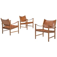 Patinated Cognac Leather Safari Chairs, Denmark, 1950s
