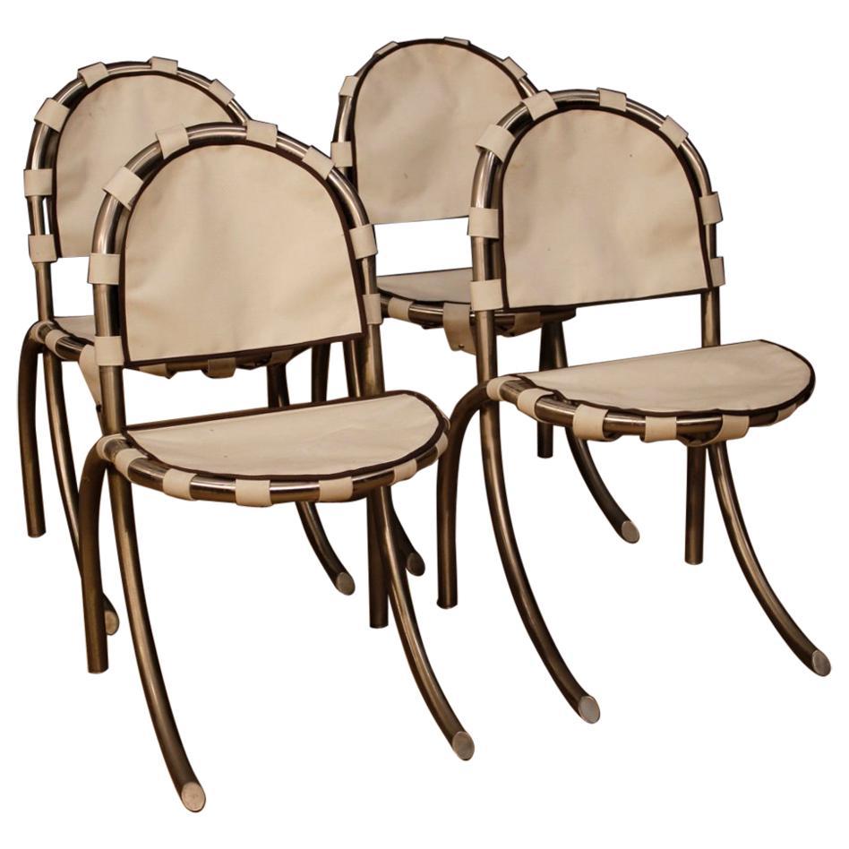 Tetrark Design Bazzani 20th Century 4 Steel And White Fabric 4 Italian Chairs
