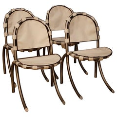 Tetrark Design Bazzani 20th Century 4 Steel And White Fabric 4 Italian Chairs