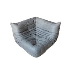 Togo Corner Couch in Grey Leather by Michel Ducaroy by Ligne Roset