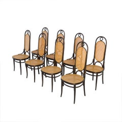 Set of 8 Bentwood Dining Chairs, Thonet Mod. 207R - Long John
