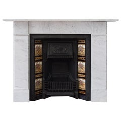 Late Victorian Carrara Marble Fireplace and Cast Iron Insert