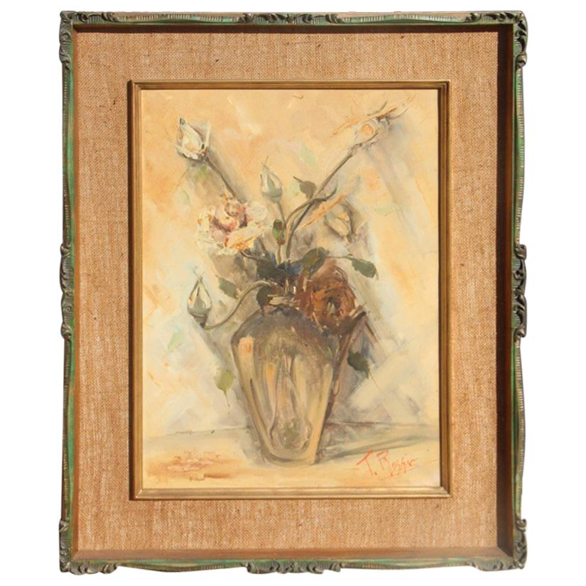 Depisis Style Midcentury Oil Panting Vase Rose Flowers 1940s Classic Frame
