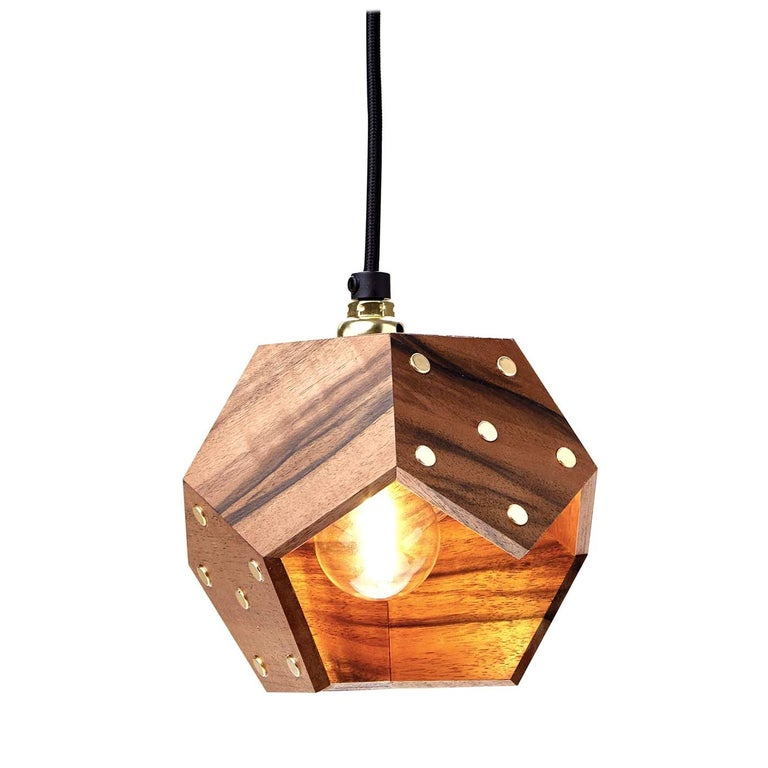 Basic Twelve Solo Walnut Pendant Lamp by Plato Design For Sale