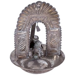 19th Century Bolivian or Peruvian Silver Alms Dish with Saint James on a Horse