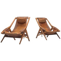 Andersag Pair of Lounge Chairs in Patinated Cognac Leather