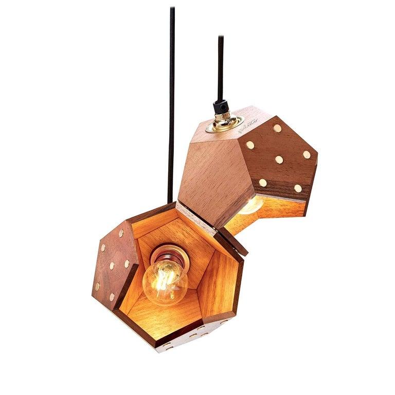 Basic Twelve Duo Walnut Pendant Lamp by Plato Design For Sale