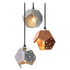 Basic Twelve Trio Walnut and Concrete Pendant Lamp by Plato Design