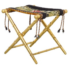 French Napoleon III Gilt Faux Bamboo Stool