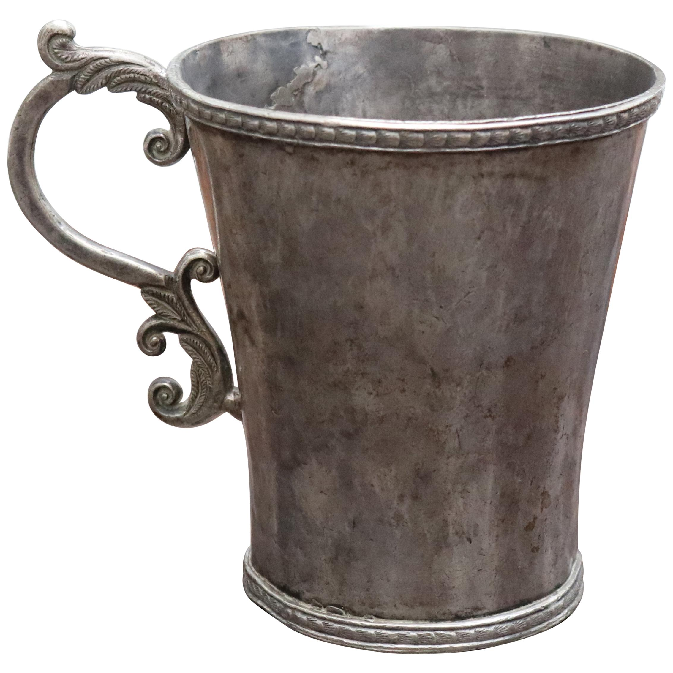 18th-19th Century Bolivian Silver Cup with Handle