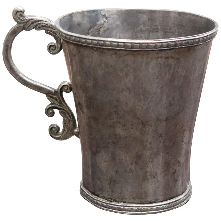 18th-19th Century Bolivian Silver Cup with Handle For Sale