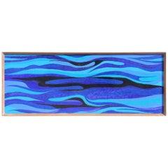 Rectangular Midcentury Large Panel in Blue Black Enamelled Metal 1950s Siva