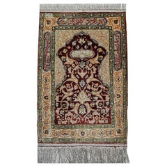 Hereke Pure Silk Turkish Prayer Rug with Golden Metal Threats Souf
