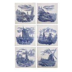 Set of 6 of Total 120 Dutch Blue Ceramic Tiles by Gilliot Hemiksen, 1930s