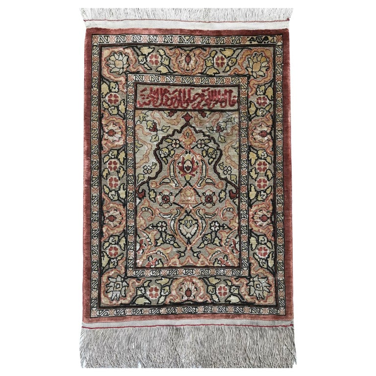 Hereke Pure Silk Turkish Prayer Rug with Golden Metal Threats Souf For Sale
