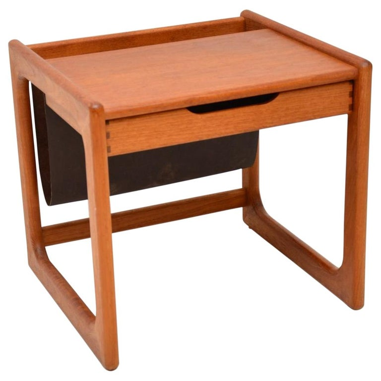 1960s Danish Teak and Leather Side Table Magazine Rack For Sale