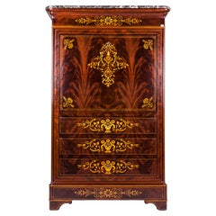 19th Century Charles X  Inlaid French Secrétaire à Abattant