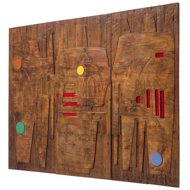Victor Cerrato Unique Grand Wooden Wall Panel For Sale