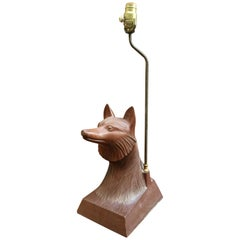 1950s Carved Wood Fox Head Table Lamp