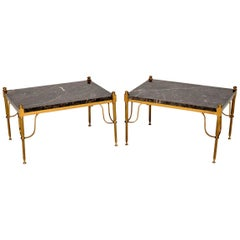 1950s Pair of Vintage French Marble and Brass Side Tables