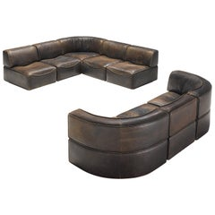 De Sede DS-15 Patinated Deep Brown Sectional Sofa