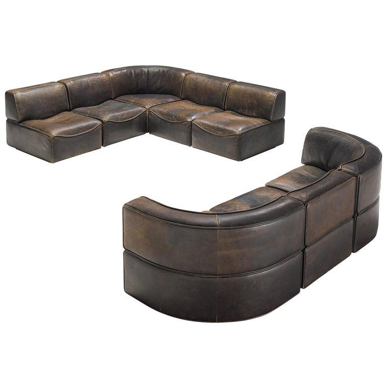 De Sede DS-15 Patinated Deep Brown Sectional Sofa