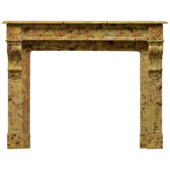19th Century French Breche D' Alep Marble Fireplace Mantel