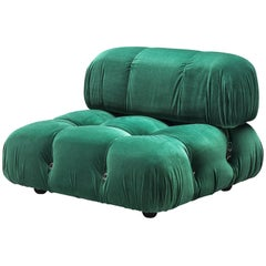 Mario Bellini Reupholstered Camaleonda in Emerald Green Velvet
