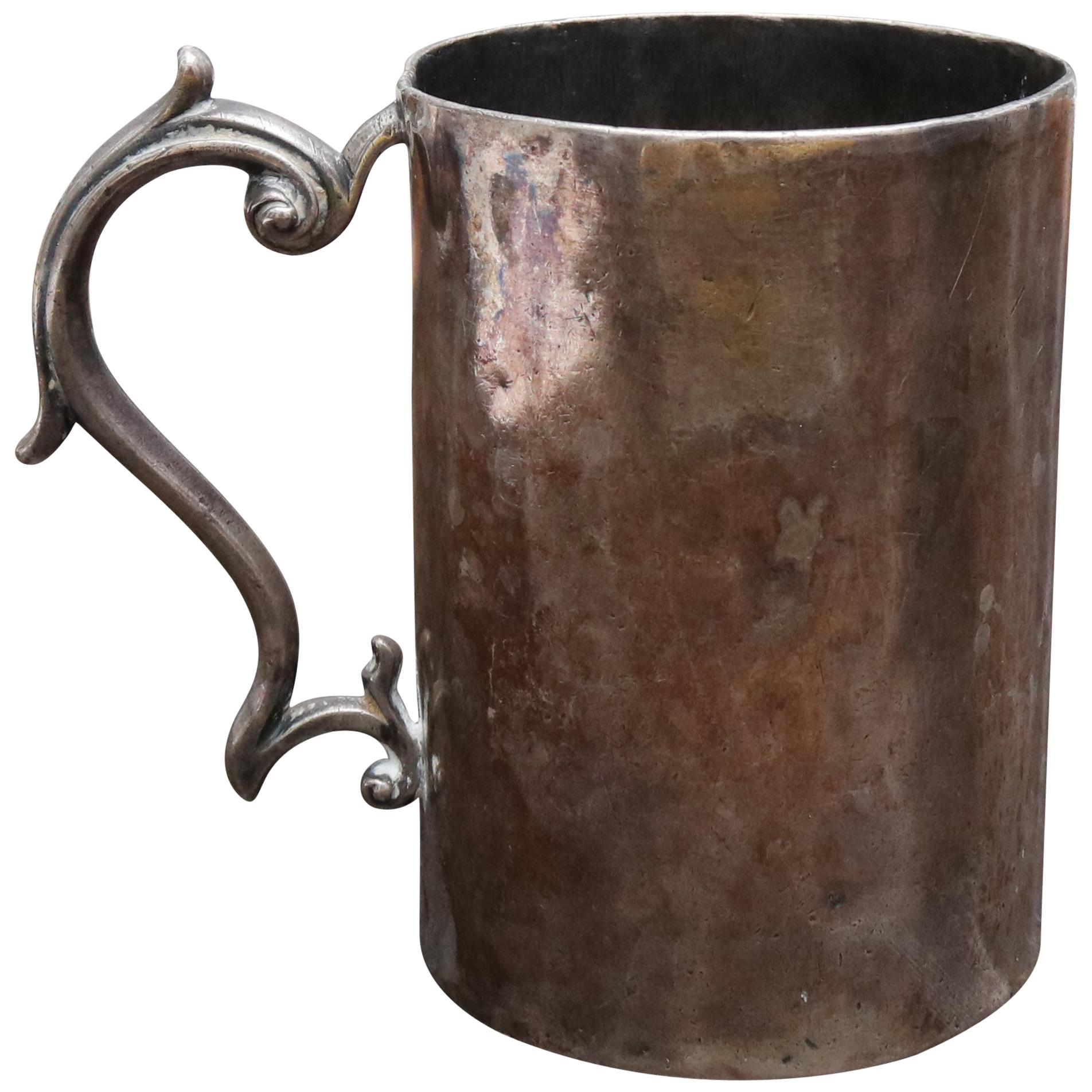 18th Century Silver Cup with Handle Possibly Bolivian