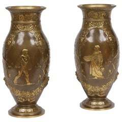 19th Century Pair of Bronze Vases by Barbedienne