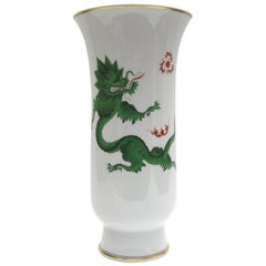Big Meissen Floor Vase in the Decor of Green Ming Dragon with Goldpainting
